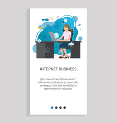 internet business working with laptop vector image