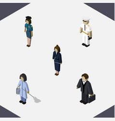 Isometric human set of seaman investor vector