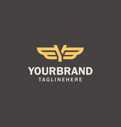letter y logo template wings design element vector image