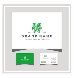 Letter yw leaf logo design and business card vector