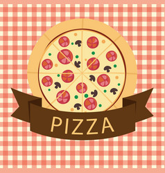 Light brown pizza ribbon logo vector