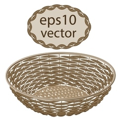Light brown round wicker basket handmade vector