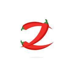 Logo red chili pepper letter z vector