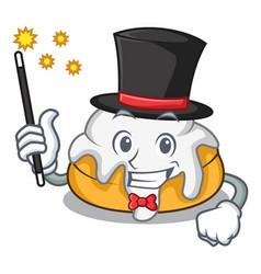 Magician cinnamon roll mascot cartoon vector