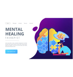 Mental healing therapist landing page vector
