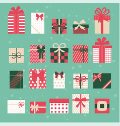 merry christmas gift box set vector image