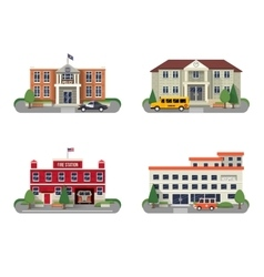 Municipal buildings set vector