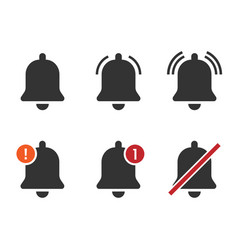 Notification bell icon set new incoming inbox vector