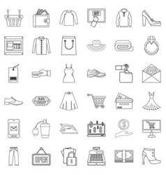 Online wholesale trade icons set outline style vector