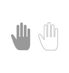 Open human hand icon grey set vector