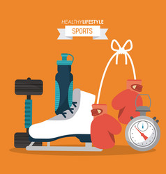 Orange background of healthy lifestyle sports with vector