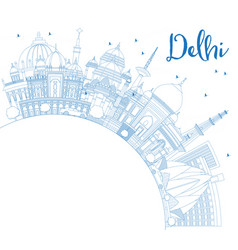 Outline delhi india city skyline with blue vector