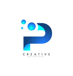p letter logo design with 3d and ribbon effect vector image