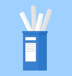pen holder dark blue with sticker office equipment vector image