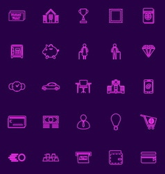 Personal financial purple line icons vector image