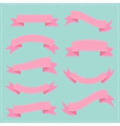 pink vintage ribbon set different shape blue vector image