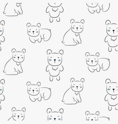 polar bear cute seamless doodle pattern vector image
