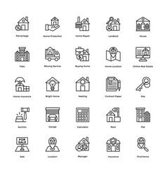 Real estate line icons set 5 vector