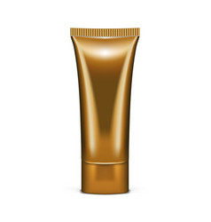realistic golden tube with cosmetic product vector image