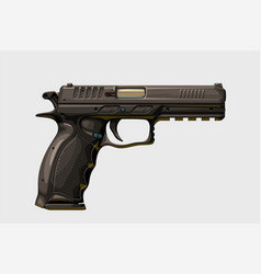 Realistic modern handgun on white vector