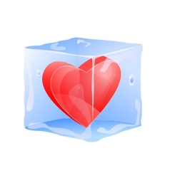 Red heart frozen in ice cube vector