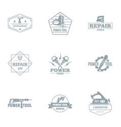 Repair job logo set simple style vector