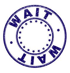 Scratched textured wait round stamp seal vector