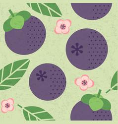 seamless pattern mangosteen leaves flowers vector image