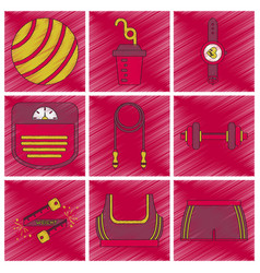 Set of flat shading style icon fitness equipment vector