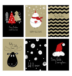Set of funny christmas cards vector