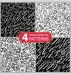 Set of hand drawn seamless linocut patterns vector