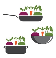 Set of pans with vegetables vector
