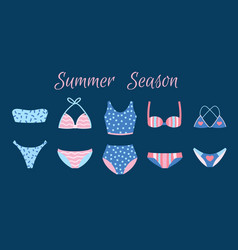 set various swimsuits isolated on blue vector image