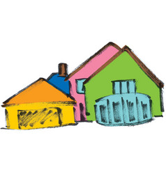 Several colored houses vector