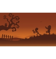 Silhouette of zombie and bat Halloween vector image