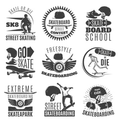 Skateboarding Emblem Or Label Set vector