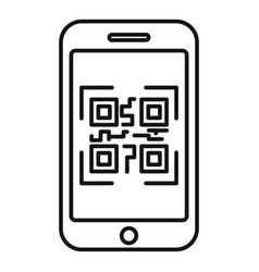 Smartphone qr code icon outline style vector
