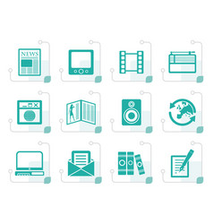 Stylized media and information icons vector