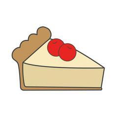 sweet cake with cherries flat icon vector image