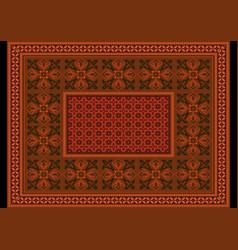 Terracotta carpet ornament and orange flower vector
