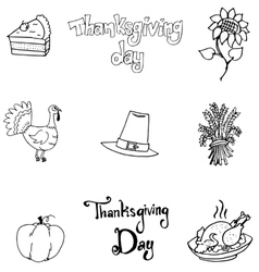 Thanksgiving element in doodle flat vector image