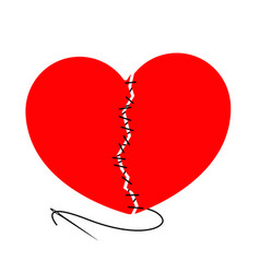 torn heart and stitched with black thread needle vector image