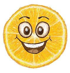 Unique style of happy orange fruit cartoon cross vector