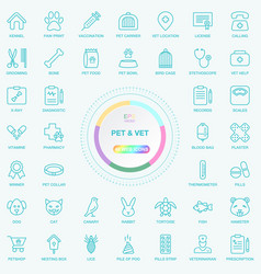 universal web and internet pet and vet line icons vector image