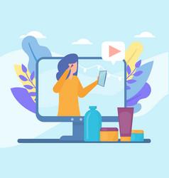 Video beauty blog in internet online vector