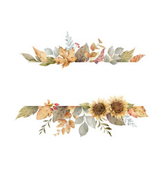 Watercolor autumn banner with sunflower vector