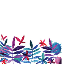 Watercolor flowers and leaves vector