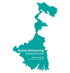 West bengal map with social distancing stayathome vector