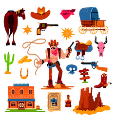 wild west western cowboy character in vector image