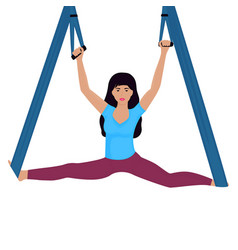 Young woman doing splits with hammock vector